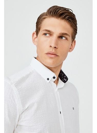 Avva Erkek  Seersuck Gömlek A02Y2100 Beyaz